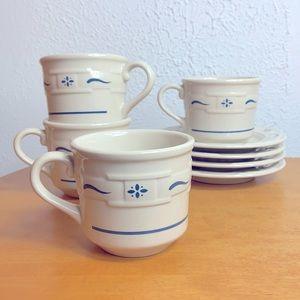Longaberger 🌈 Blue Ceramic Tea Cup & Saucer Set